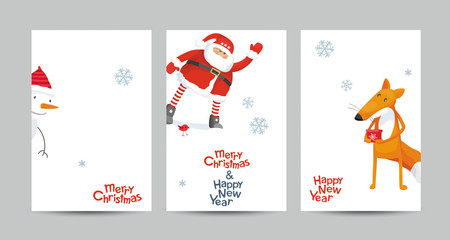 Christmas vector cards set in minimalist style
