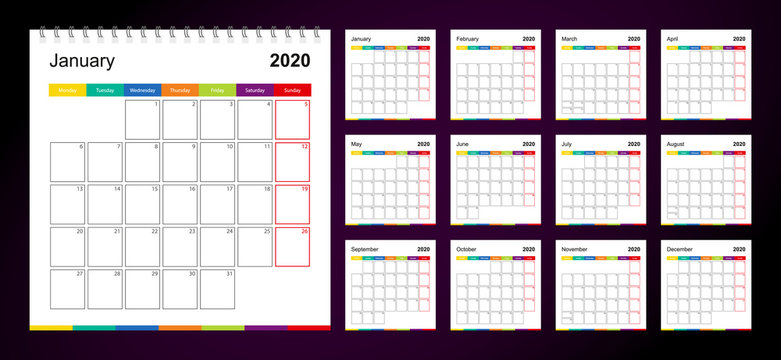 Colorful wall calendar for 2020 on dark background, week starts on Monday.