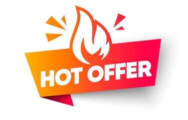 Vector Illustration Hot Offer Label. Modern Web Banner Element With Flame