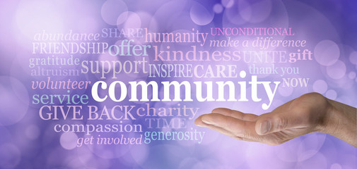 Your Community matters word tag cloud - male open palm hand with the word community floating above surrounded by a relevant word cloud on a purple bokeh background