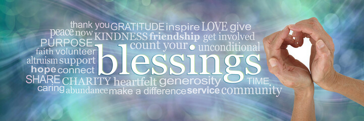 Sending you my heart felt Blessings Word Cloud - female hands making a heart shape beside the word BLESSINGS next to a relevant word cloud on a green blue ethereal background