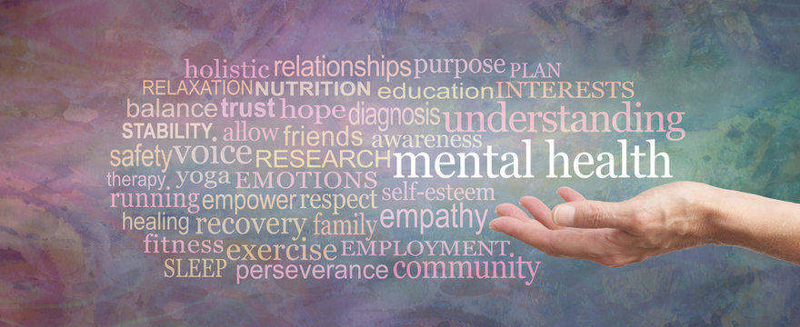 Mental Health Awareness Word Cloud - female hand palm up with the words MENTAL HEALTH floating above surrounded by a relevant word cloud on a rustic grunge green magenta background