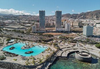 Fotobehang Canarische Eilanden Aerial photography drone point of view from above panorama of modern architecture of Santa Cruz de Tenerife cityscape, major city, capital of the island of Tenerife, Canary Islands, Spain