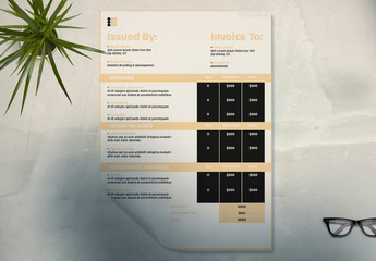 Invoice Set Layouts with Tan Accents