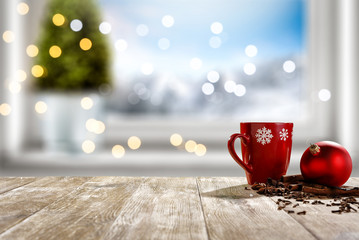 Table background of free space for your decoration and winter window background.Christmas...