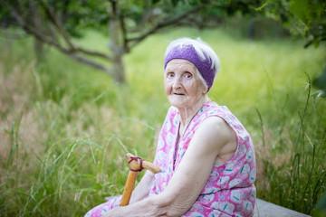 Portrait of senior woman sitting on bench in garden