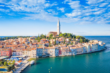 In de dag Mediterraans Europa Croatia, Istria, panorama of beautiful old town of Rovinj on Adriatic sea coastline