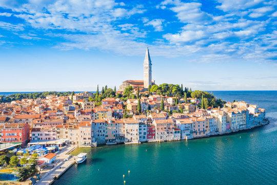 Croatia, Istria, panorama of beautiful old town of Rovinj on Adriatic sea coastline