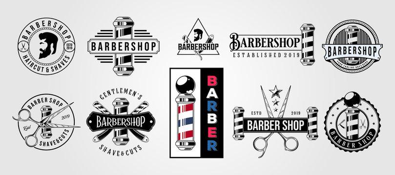 set of barbershop vector vintage hipster logo illustration design