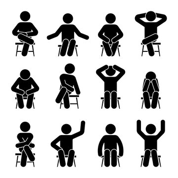 Sitting on chair stick figure man different poses pictogram vector icon set. Boy silhouette seated happy, comfy, sad, tired, depressed sign on white background