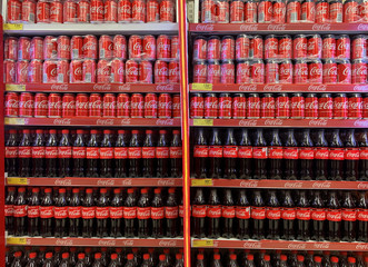 Coca-Cola products are displayed for sale at a Shoprite store inside Palms shopping mall in Lagos
