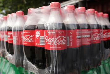Coca-Cola bottles are pictured in Lagos