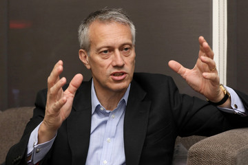 James Quincey, Chairman and CEO of The Coca-Cola Company speaks during an interview with Reuters in Nigeria's commercial capital, Lagos