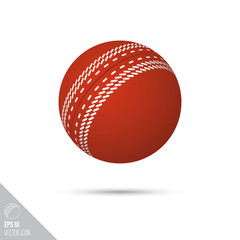 Cricket ball smooth vector icon. Sports equipment symbol.
