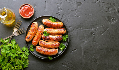 Barbecue sausage with fresh parsley