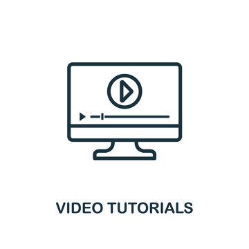 Video Tutorials icon outline style. Thin line creative Video Tutorials icon for logo, graphic design and more