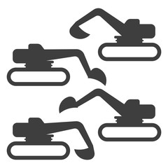 Crawler excavator icon. Set of four variants of the bucket position. Vector on a white background