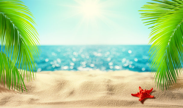 Beautiful tropical beach banner. Mockup of summer landscape with coco palms on blur defocused blue sea or ocean background. Summer vacation concept