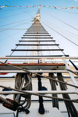 Rope ladders on a sailboat.