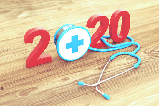 New Year 2020 Creative Design with Medical Concept - 3D Rendered Image
