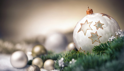 Christmas baubles closeup, shallow focus and dreamy look, elegant beige colors with copy space