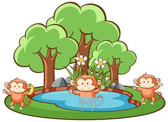 In de dag Kids Scene with monkeys in park