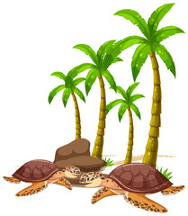 Isolated picture of sea turtles and tree