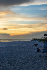 Empty view of Fort Myers Beach at sunset