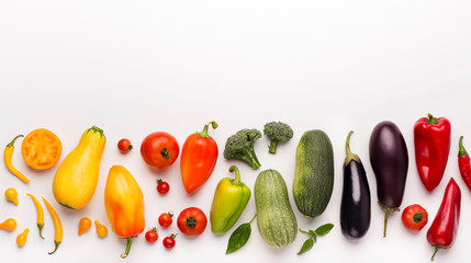 Healthy rainbow of fresh vegetables isolated on white