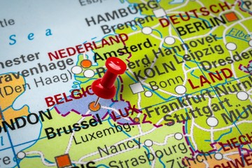 Pushpin pointing at Brussels city in Belgium