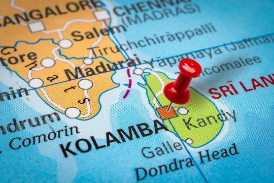 Pushpin pointing at Kolamba city in Sri Lanka