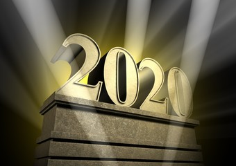 new year 2020, New Year's day, number in spotlight at pedestal