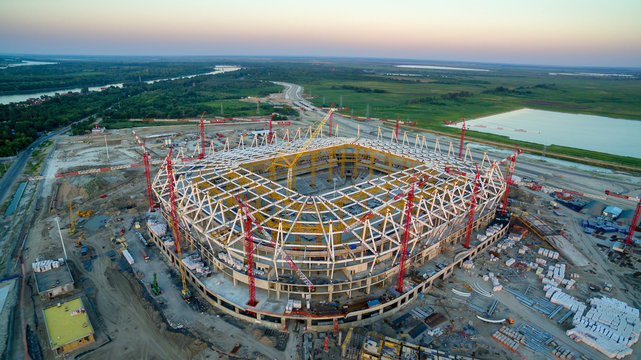 Aerial view to construction of football stadium. Rostov-on-Don. Russia