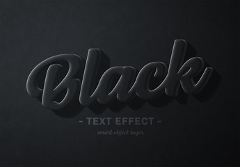Black 3D Text Effect