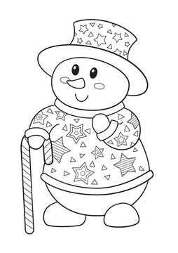 Vector doodle coloring book page cute snowman with candy cane. New Year and Christmas illustration