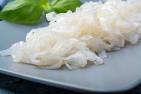 White konjac shirataki noodles, gluten free and no fat diet vegetarian and vegan Asian food
