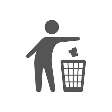 Throwing trash vector icon on white background. Flat vector throwing trash icon symbol sign from modern behavior collection for. Mobile concept and web apps. EPS 10