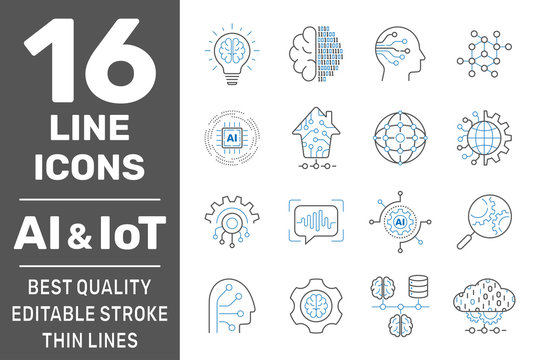 Physical systems, AI, IIot, Iot, cloud computing, cognitive computing industry 4.0 icons set. Cyber Physical Systems concept of industry 4.0 and AI. Editable Stroke. EPS 10