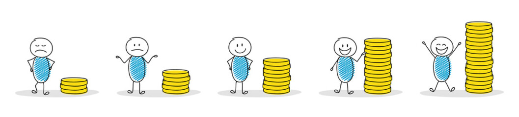 Collection of cartoon people with coin stacks. Vector