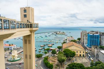 Salvador, Brazil - Circa September 2019: A view of Lacerda Elevator and Bay of All Saints (Baia de Todos os Santos) in Salvador, Bahia