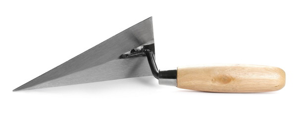 New metal trowel isolated on white background