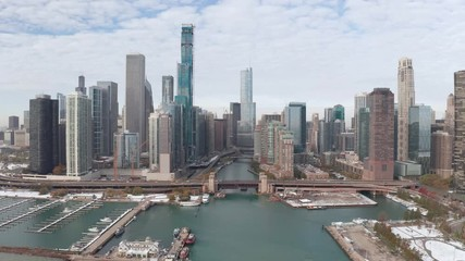 Fototapete - Chicago downtown skyline aerial drone buildings