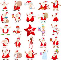 Santa Claus Christmas characters cartoon set