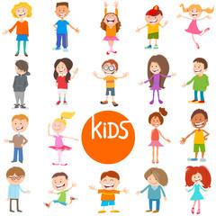 cartoon children and teen characters set