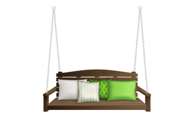Wooden porch swing bench with pillows. Classic outdoor garden patio furniture for leisure hanging on ropes with soft cushions isolated on white background. Realistic 3d vector illustration, clip art