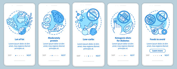 Keto diet turquoise onboarding mobile app page screen vector template. Healthy nutrition. Low carbs and lot of fat eating. Walkthrough website steps with linear icons. UX, UI, GUI smartphone interface