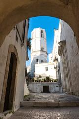 Octagonal tower of Saint Michael Archangel Sanctuary. Monte Sant Angelo, Italy