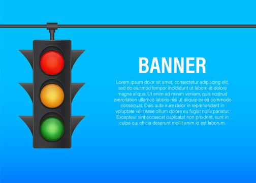 Traffic lights banner on blue background. Vector stock illustration.