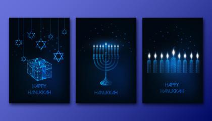 Futuristic glowing low polygonal Hanukkah posters set with menorah, candles, gift box and David star