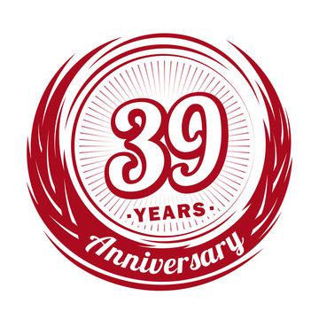 Thirty-nine years anniversary celebration logotype. 39th anniversary logo. Vector and illustration.